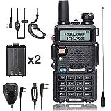 BaoFeng Walkie Talkie UV-5R Dual Band Two Way Radio with one more 1800mAh UV5R Battery one Hand Mic and one TIDRADIO 771 Antenna Baofeng Radio Ham radio