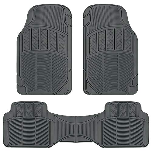 BDK ProLiner Diamond Grid 3pc Heavy Duty Front & Rear Rubber Floor Mats for Car SUV Van & Truck, All Weather Protection Universal Fit