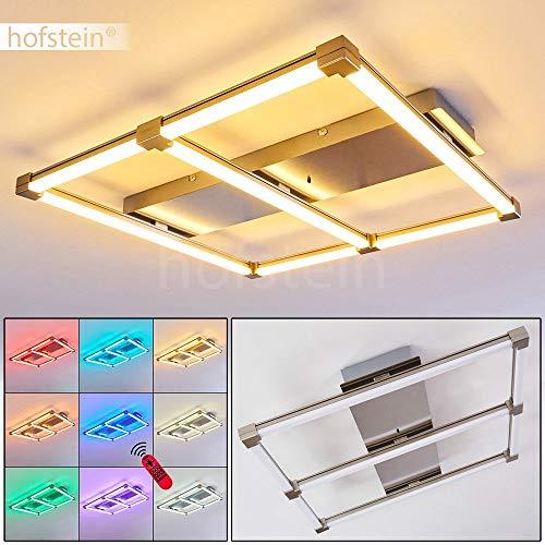 LED Deckenleuchte Relap, dimmbare Deckenlampe aus Metall/Glas in Nickel-matt, 28 Watt, 705 Lumen (insgesamt), Lichtfarbe 2700-5000 Kelvin, RGB Farbwechsler u. Fernbedienung
