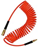 YOTOO Polyurethane Recoil Air Hose 1/4 in by 25 ft with Bend Restrictor, 1/4' Industrial Quick Coupler and Plug, Red