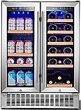 AAOBOSI 24 Inch Beverage and Wine Cooler Dual Zone 2-IN-1 Wine...