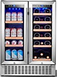 AAOBOSI 24 Inch Beverage and Wine Cooler Dual Zone 2-IN-1 Wine Beverage Refrigerator with Independent Temperature Control, LED Light, Quiet Operation, Energy Saving, Hold 18 Bottles and 57 Cans