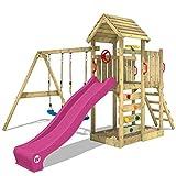 WICKEY Aire de jeux Portique bois MultiFlyer toit en bois avec balançoire et toboggan violet, Maison enfant exterieur avec toit en bois, bac à sable, échelle d'escalade & accessoires de jeux