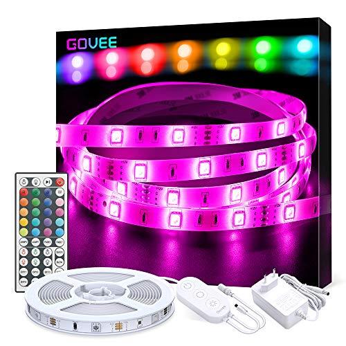 Govee Striscia LED RGB 5M, LED Strisce Luci 5050 Cambiamento di Colore, Kit Completo con 44 Tasti Telecomando IR & Alimentatore LED Strip Illuminazione per Giardino, Bar, Festa, ecc