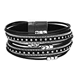 Fesciory Women Multi-Layer Leather Wrap Bracelet Handmade Unique Teen Girls with Magnetic Buckle Jewelry(Short Black)