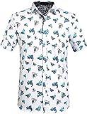 SSLR Men's Shark Printed Casual Button Down Short Sleeve Shirt (4X-Large, White)