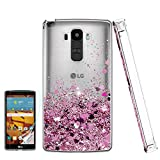 Atump LG G Stylo Case with HD Screen Protector for Girls Women, Luxury Glitter Diamond Quicksand Clear TPU Protective Phone Case for LG G Stylo, LG G Vista-2, LG G4 Stylus LS770 Pink