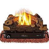 Barton Premium 18-inch Vent-Free Natural Gas Log Set 30,000 BTU Dual Burner Glowing Ember ANSI Certified Burner