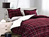 Elegant Comfort Softest, Coziest Heavy Weight Plaid Pattern Micromink Sherpa-Backing Premium Quality Down Down Alternative Micro-Suede 2-Piece Reversible Comforter Set, Twin/Twin XL, Burgundy