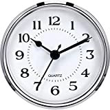 Hicarer 3-1/2 Inch (90 mm) Quartz Clock Fit-Up/Insert with Arabic Numeral, Quartz Movement (Silver Rim)