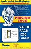 1250 Piece Value Pack Jewelry Repair, Price and Indentification Tags/Tyvek Self Adhesive Rectangle/Dumbbell/Barbell Jewelry Price Tags (Long - 1 7/8' x 1/2' (47 x 12mm), White)