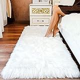 Premium Faux Sheepskin Fur Rug White - Large White Shag Rug - Best Extra Long Shag Pile Carpet for Bedroom Floor Sofa - Soft Fur Area Rug (2.3x5, White)