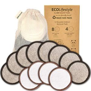 Reusable Makeup Remover Pads - 12 MAXI SIZE Reusable Bamboo and Cotton Rounds - Eco Friendly Products Zero Waste… 58