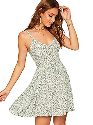 100% Polyester.The waist is elastic,but the fabric has no stretch. Short boho sleeveless v neck backless sun dress. Adjustable and comfortable,very soft.sumnmer.able and comfortable,very soft. Slim fit casual wear.suitable for going out in spring and...