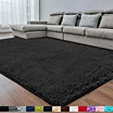 Black Soft Area Rug for Bedroom,2x4,Fluffy Rugs,Shaggy Rugs for Girls Boys Room,Furry Rugs for Baby Kids Room,Shag Carpet for Dorm Nursery Room,Bedside Rug,Anti-Slip Rug,Rectangle Rug,Black Carpet