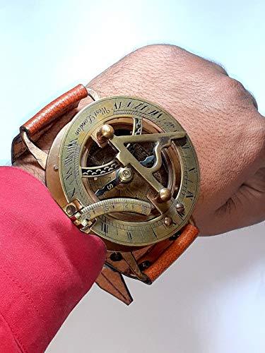 Brass Nautical Antique Steampunk Sundial Compass Wrist Watch W/Leather Bracelet Handmade Collection |Sundial Compass| Nautical Collection