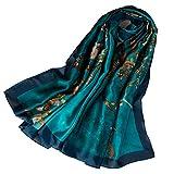 KAVINGKALY Foulard en soie pour femme, foulard à grand imprimé et bandeau long...