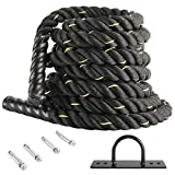 XMSound Battle Rope 1.5' Battle Exercise Training Rope 30ft/40fT Length Workout for Strength Training Home Gym Outdoor Cardio Workout, Anchor Included (30ft)