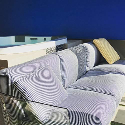 Kartell, Pop Outdoor 704362, Divano 3 Posti da Giardino Esterno, cm242x70. Cuscini a Righe Blu.