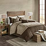 Madison Park Boone 7 Piece Faux Suede Comforter Embroidered Pillows, Bedskirt and Shams Cabin Style Soft Down Alternative Hypoallergenic All Season Bedding-Set, King, Brown