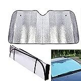 Front Windshield Sun Shade, Black Jumbo 5 Layers Reflective Accordion Folding Auto Sunshade for Car Truck SUV