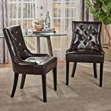 Christopher Knight Home Stacy Leather Dining Chair, Brown
