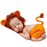 AIXIANG Newborn Baby Photography Prop Handmade Crochet Costume Lion Cap and Pants Set