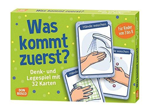 Was kommt zuerst?: Denk- und Legespiele mit 32 Karten für Kinder von 3 bis 8 (Denk- und Legespiele für Kinder)