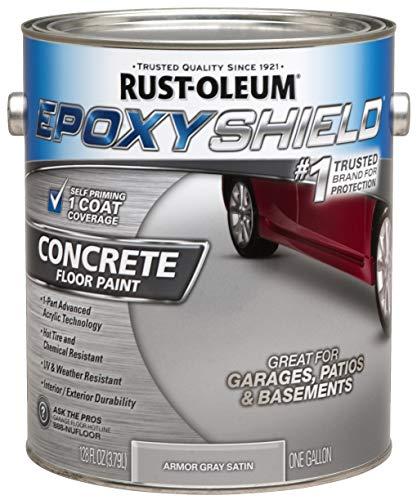 RUST-OLEUM 225359 Epoxy Shield Gray Base Single Part 1-Gallon Armor Concrete Floor Paint, 1 gal,
