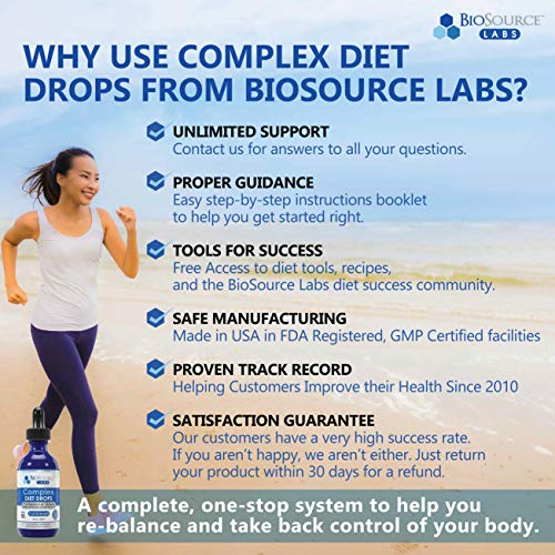 BioSource Labs Complex Diet Drops – Best Natural Weight Management Drops for Men and Women (1 x 2-Ounce Bottle) 4