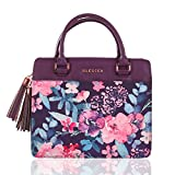 Blessed Purse Style Bible Cover for Women Black Faux Leather, Purple Floral Large