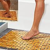 Tapis de bain en bambou Hankey - Luxueux - Avec pieds antidérapants - Pour douche,...