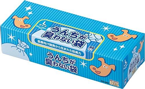 驚異の防臭袋 BOS (ボス) うんちが臭わない袋 ペット用 うんち 処理袋【袋カラー:ブルー】 (Lサイズ 90枚入)