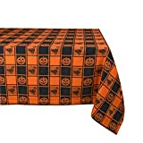 DII 60x84' Cotton Tablecloth, Black & Orange Check Plaid with Cat & Jack O' Lantern - Perfect for Halloween, Dinner Parties and Scary Movie Nights