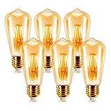 EXTRASTAR Ampoule à filament LED E27 ST64 6W 2200K Blanc Chaud , Rétro Edison...