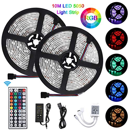 10M LED Streifen 5050 RGB, LED Strip 300 LED Lichtband, 5050 Lampenperlen12V, Wasserdicht IP65
