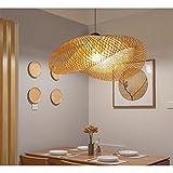 MQW Lampes suspendues tissées en Bambou Naturel Vintage et lumière en...