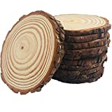 10pcs Wood Slices 4-4.7 inch Unfinished Natural with Tree Barks Diameter Large Circle Rustic Wedding Centerpiece Disc Coasters Christmas Ornaments DIY Woodland Projects Table Chargers Wedding