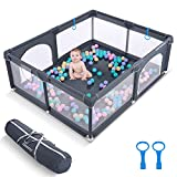"""CONMIXC Baby Playpen 72"""" x 59"""", Extra Large See Through Play Pen Play Yard Playpen for Babies and Toddlers, Portable Baby Fence Play Area, Baby Gate Playpen, Baby Playard Playyard with Zipper Gate"""