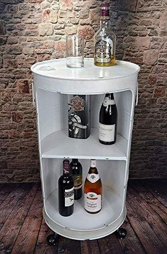 Livitat® Regal Beistelltisch Ölfass Tonne H80cm Industrie Look Loft Vintage (Weiss)