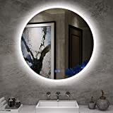 IStripM Bathroom LED Lighting Mirror R24' With Anti-fog Function Wall Mounted Backlit Thickness 5MM Round Dimmable Touch Button 6000k(Cold White)Makeup Vanity Mirror Over Cosmetic Bathroom Sink