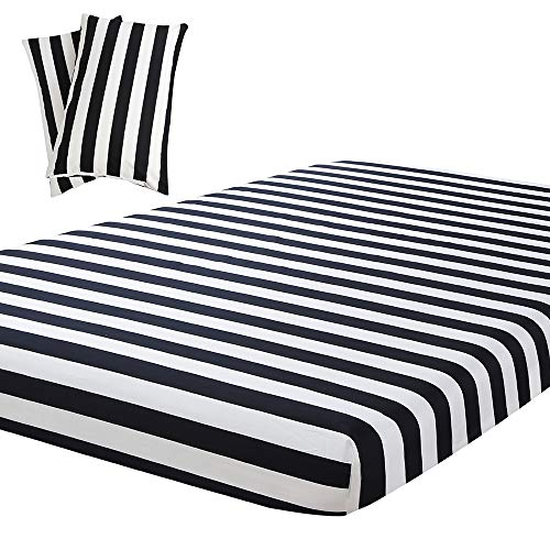 Vaulia Lightweight Microfiber Sheets, Black/White Stripe Pattern Twin Size, 3-Piece Set (1 Fitted Sheet, 2 Pillowcases)