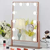 FENCHILIN Lighted Makeup Mirror Hollywood Mirror Vanity Makeup mirror with Light Smart Touch Control 3Colors Dimable Light Detachable 10X Magnification 360rotation(Rose Gold