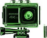 MUSON(ムソン) アクションカメラ 4K 20MP画素 Wi-Fi 40M防水 水中カメラ EIS手ブレ補正 HDMI出力機能170°広角レンズ 外部マイク タイムラプス ループ録画 連写 2つ1200mAhバッテリー リモコン付き 豊富なアクセサリー 自転車/バイク/ヘルメット/サーフボードなどに装着可能 ドライブレコーダー スポーツカメラ 「自撮り棒付属」「メーカー12月保証」 PRO3 Green