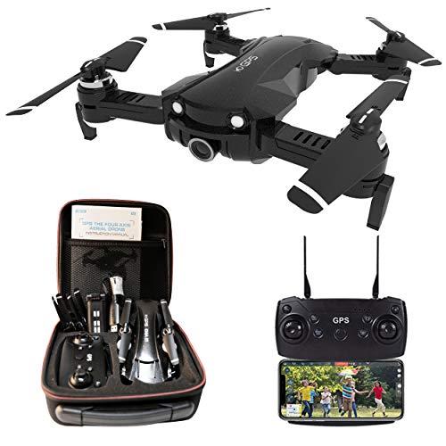 le-idea Drone con Telecamera 4K HD, Drone RC GPS con Camera Professionale, 5GHz WiFi FPV, Quadcopter Drone Pieghevole, Modalità Senza Testa, Follow Me, per Bambini e Principianti Regalo