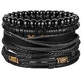 Finrezio Bracelet Cuir Tressé Bracelet Perle de Bois pour Homme Femme Vintage Cuir Véritable Noir