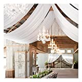 White Wedding Ceiling Drapes 2 Panels 5ftx20ft Long Sheer Voile Chiffon Ceiling Draping Ceremony Hall Party Decorations
