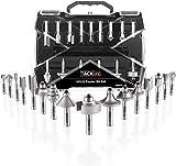 19 PCS Broca de Fresadora, Tacklife ARB03C Broca de Fresa, Vástago de 8mm, Fabricada de C3/YG6X, 15 Piezas de Fresa & 4 Rodamientos Intercambiables & Llave Allen
