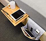 Tirrinia Bedside Shelf Table & Storage Organizer Caddy - Cup & Pen Recess Design, Detachable Frame, Charger Cord Slots Floating Tray for College Student Dorm, Bunk Beds, Kids Nightstand, 14.8'x 10'