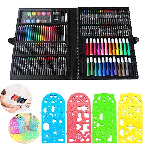 JiaHome Set di Strumenti da Disegno per Bambini, 154 Pezzi,Valigetta dellArtista | Set Pennarelli Matite Pastelli Colorati | Ottima Idea Regali per Bambini,Set Kit Creativo per Disegnare E Colorare